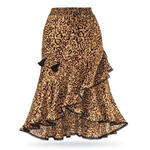 NWOT The Pyramid Collection Leopard High/Low Skirt